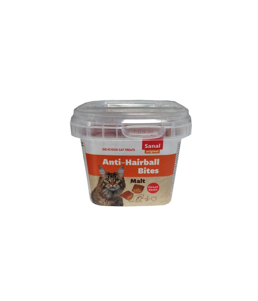 تشویقی و مکمل گربه مدل مالت آنتی هربال سانال Sanal Anti-Hairball bites