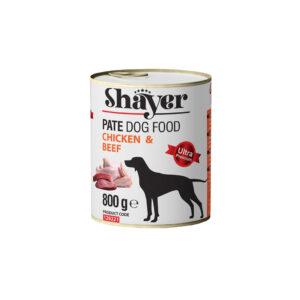 کنسرو مخصوص سگ بالغ پته شایر با طعم مرغ و گوشت قرمز Shayer